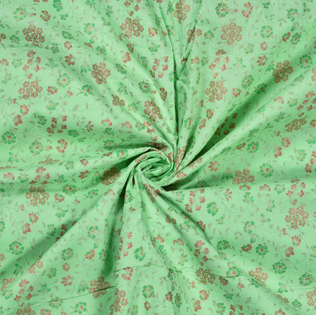 Green Red Flower Jam Cotton Print Fabric-28226