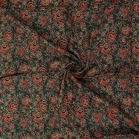 Green-Red and Black Floral Design Block Print Rayon Fabric-15046