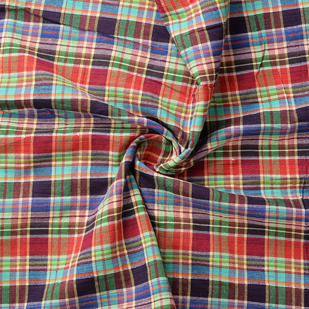 Green-Red and Blue Checks Pattern Cotton Handloom Khadi Fabric-40171