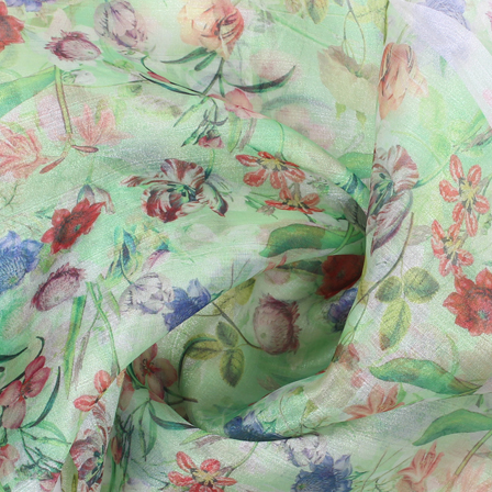 Green-Red and Blue Flower Organza Digital Print Fabric-51402