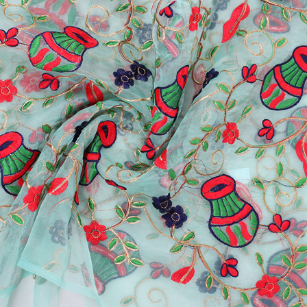 Green-Red and Blue Flower Organza Embroidery Fabric-51417