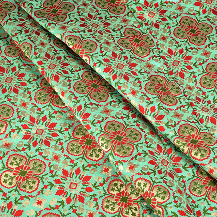 Green-Red and Golden Digital Brocade Fabric-24090