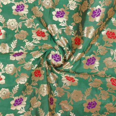 Green Red and Golden Floral Banarasi Silk Fabric-9266