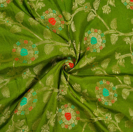 Green Red and Golden Floral Satin Brocade Silk Fabric-12691