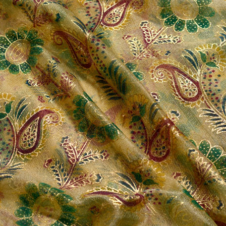 Green-Red and Golden Flower Shape Lycra Fabric-6544