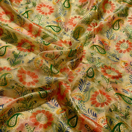 Green-Red and Golden Paisley Shape Lycra Fabric-6529
