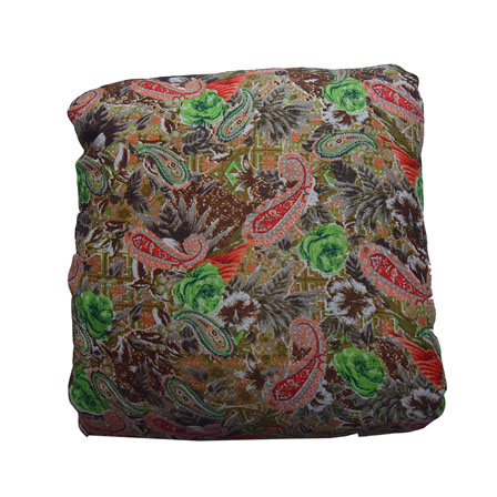 Green-Red and Orange Paisley Pattern Kalamkari Manipuri Silk-16098