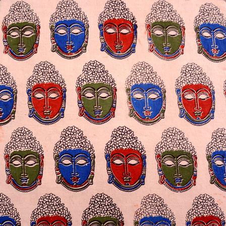 Green-Red and Peach Buddha Pattern Kalamkari Fabric-5516
