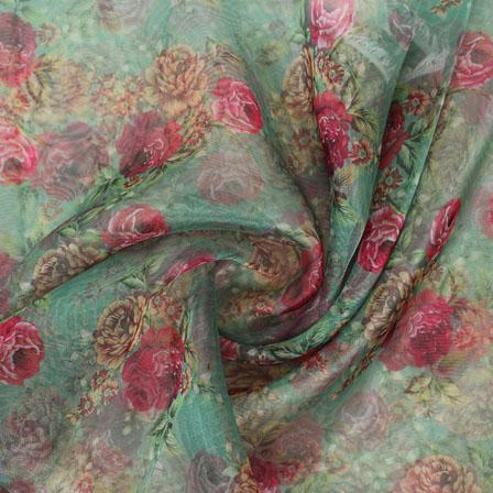Green Red and Yellow Digital Organza Silk Fabric-51597
