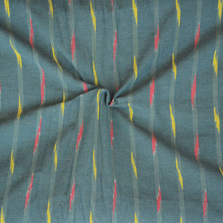 Green Red and Yellow Ikat Cotton Fabric-12266
