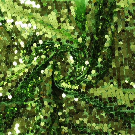 Green Shiny Sequin Net Fabric-60936