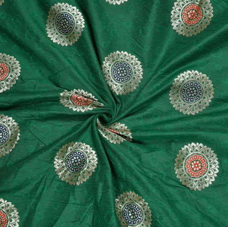 Green Silver Circle Banarasi Brocade SIlk Fabric-12746