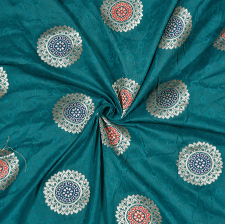 Green Silver Circle Banarasi Brocade SIlk Fabric-12755