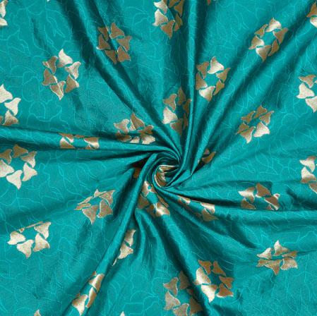 Green Silver Floral Brocade Silk Fabric-12791