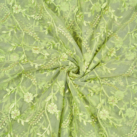 Green Silver Floral Net Embroidery Fabric-19265
