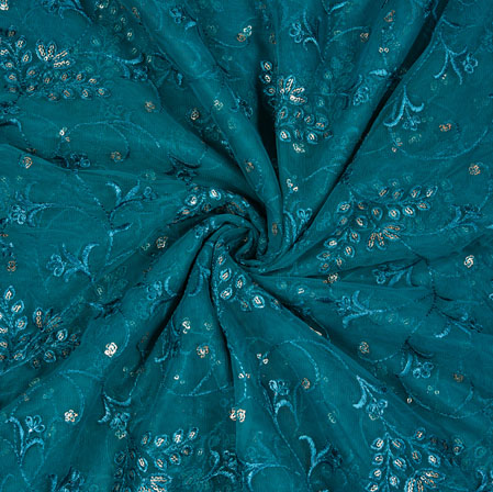 Green Silver Floral Net Embroidery Fabric-19278