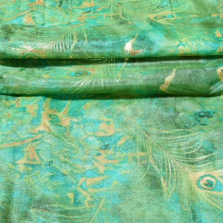 Green Silver Floral Organza Digital Silk Fabric-22450