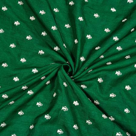Green Silver Floral Polka Zari Taffeta Silk Fabric-12645