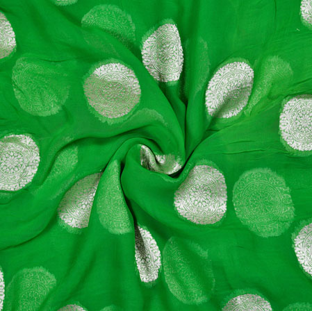 Green Silver Gola Georgette Viscose Boota Fabric-41148