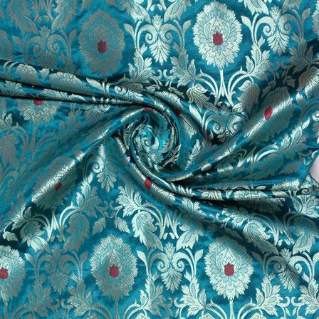 Green Silver Kinkhab Banarasi Silk Fabric-9333