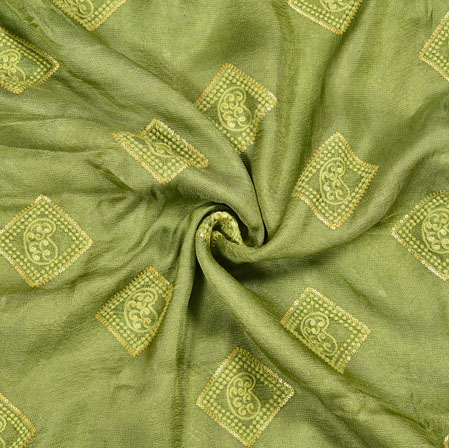 Green Silver Square Georgette Embroidery Fabric-19117