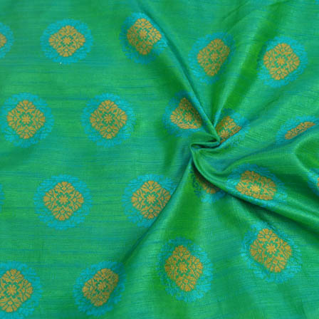 Green-Sky Blue and Golden Floral Pattern Soft Brocade Silk Fabric-8112