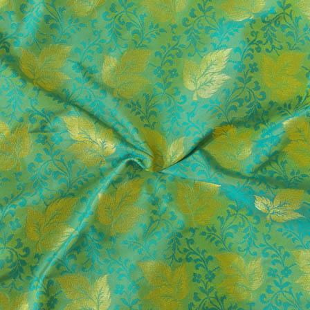 Green-Sky Blue and Golden Leaf Pattern Brocade Silk Fabric-8005
