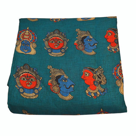 Green-Sky Blue and Red Durga Devi Design Kalamkari Manipuri Silk-16017