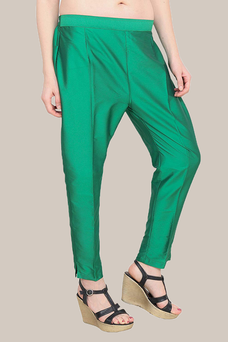 Green Taffeta Silk Ankle Length Pant-33964