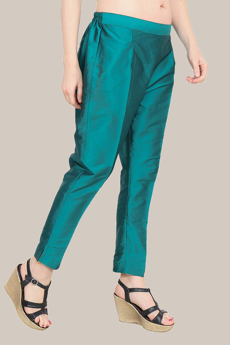 Green Taffeta Silk Ankle Length Pant-33966