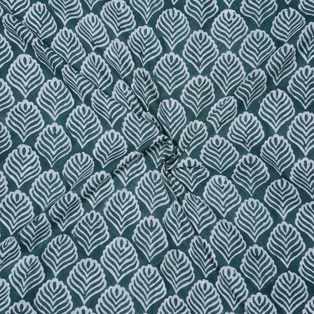 Green White Block Print Cotton Fabric-14737