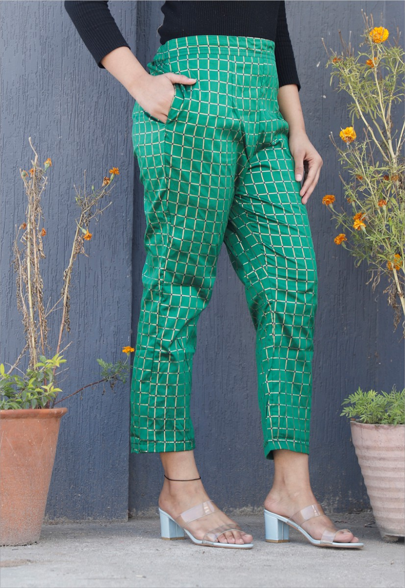Green White Brocade Silk Ankle Women Check Pant-34331
