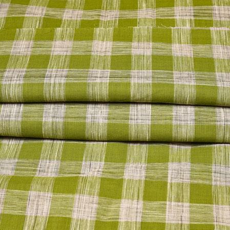 Green White Checks Handloom Cotton Fabric-42457