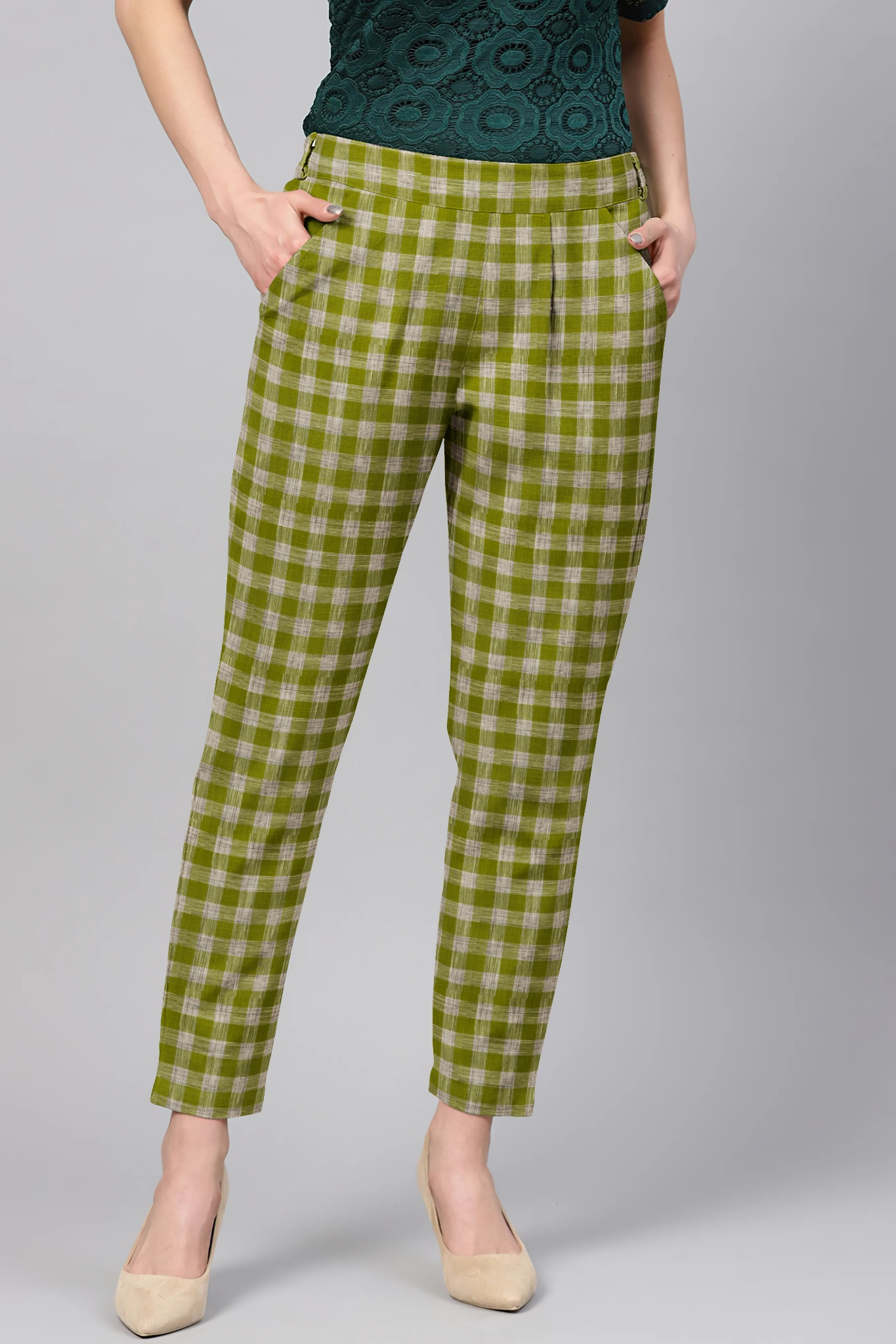 Green White Cotton Check Regular Fit Solid Trouser-36083