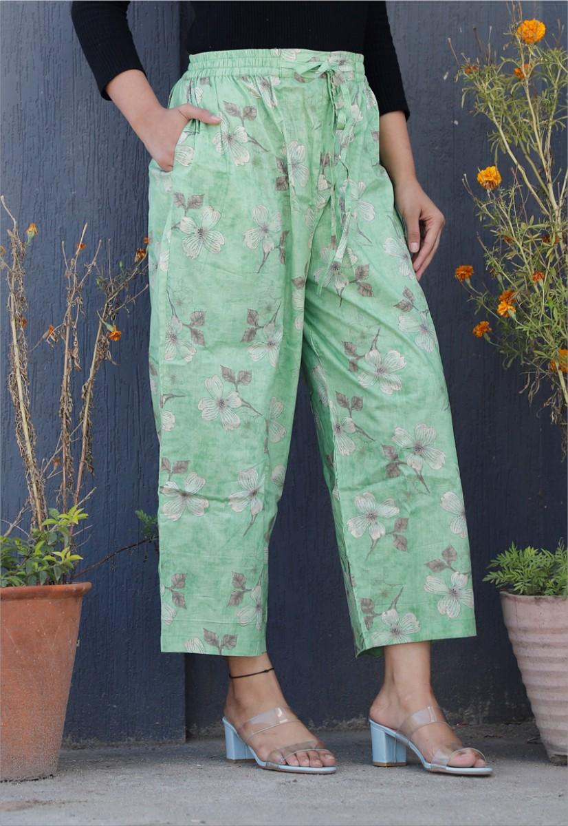 Green White Cotton Floral Palazzo Pant-34337