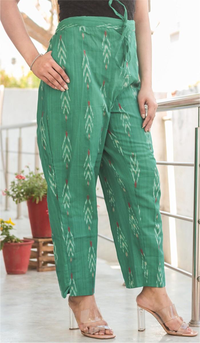 Green White Cotton Ikat Ankle Women Pant-34662