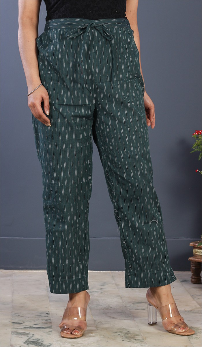 Green White Cotton Ikat Ankle Women Pant-34673