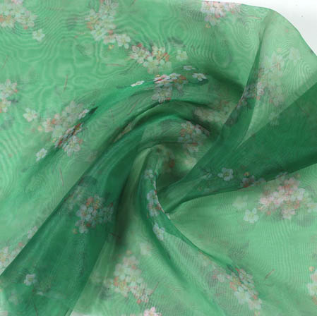Green White Digital Floral Organza Silk Fabric-51817