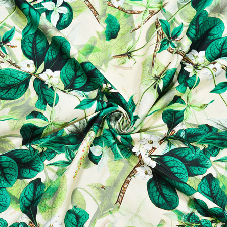 Green White Floral Crepe Silk Fabric-41014