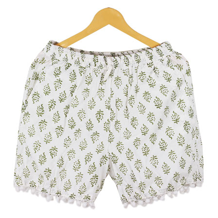 Green White Flower Cotton Block Print Short-14667