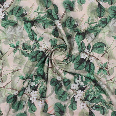 Green White Flower Crepe Silk Fabric-18268