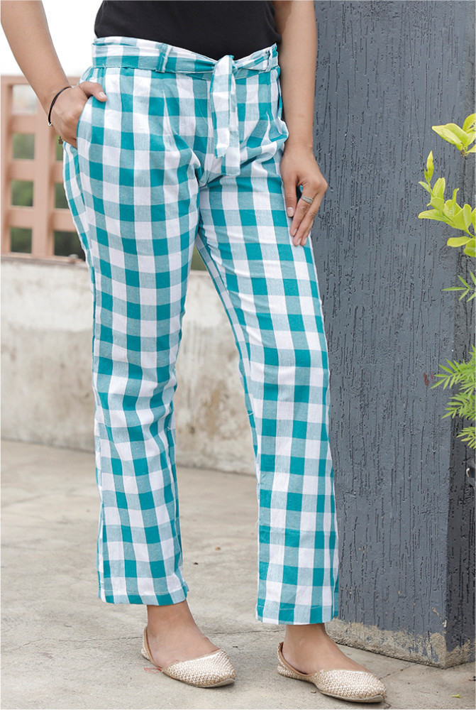Green White Handloom Cotton Checks Narrow Pant with Belt-33899