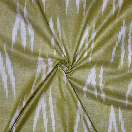 Green White Ikat Cotton Fabric-11131