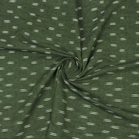 Green White Ikat Cotton Fabric-12345