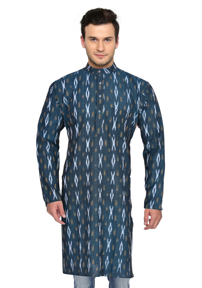 Green White Ikat Cotton Khadi Long Kurta-33188