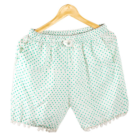 Green White Polka Cotton Block Print Short-14658