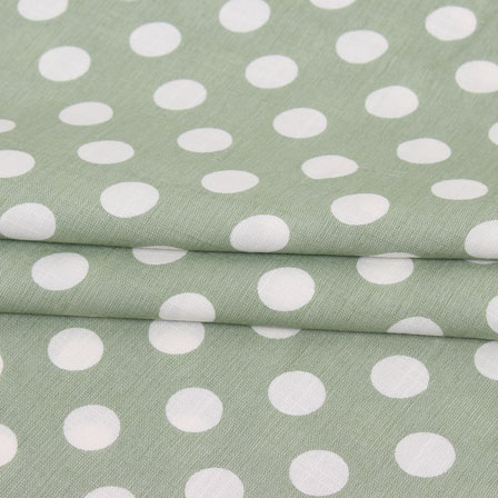 Green White Polka Print Rayon Fabric-15280