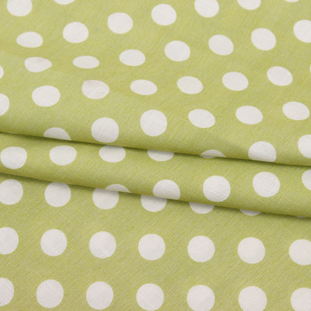 Green White Polka Print Rayon Fabric-15284