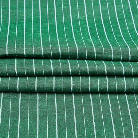 Green White Stripe Cotton Fabric-42379