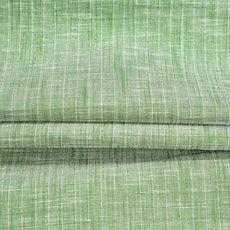 Green White Stripe Handloom Cotton Fabric-40996